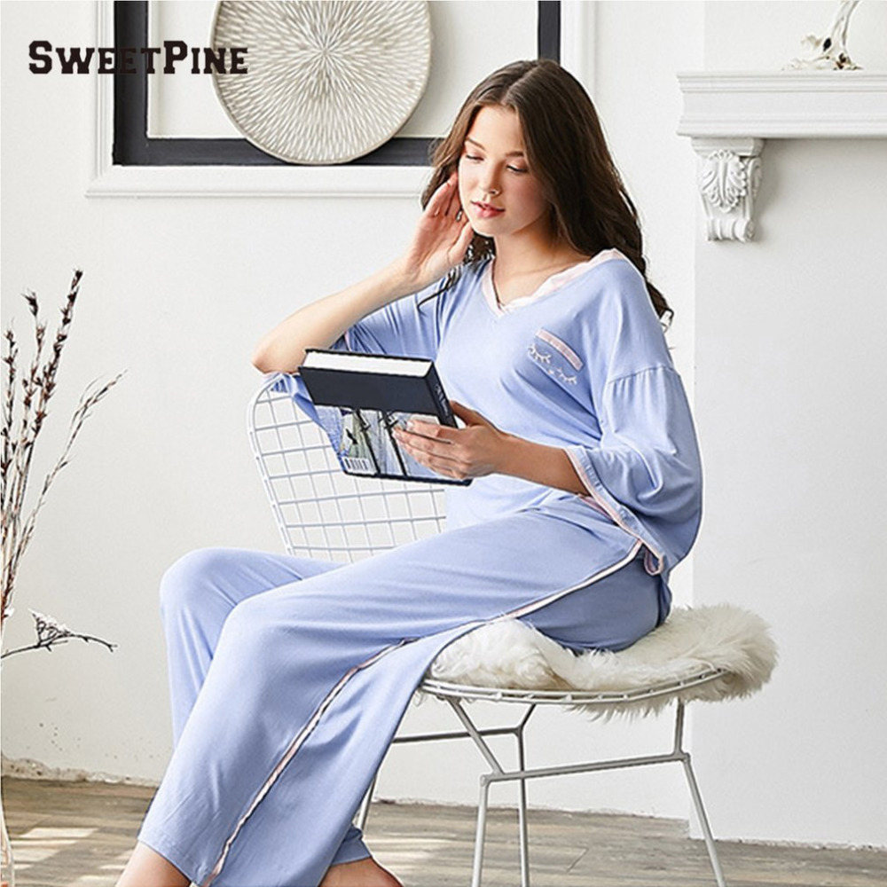 comfort womens sleepwears comforter acetshirt pajamas loose sets cotton brand for pajama sleep comfortable women snow with homewears euwbdka red