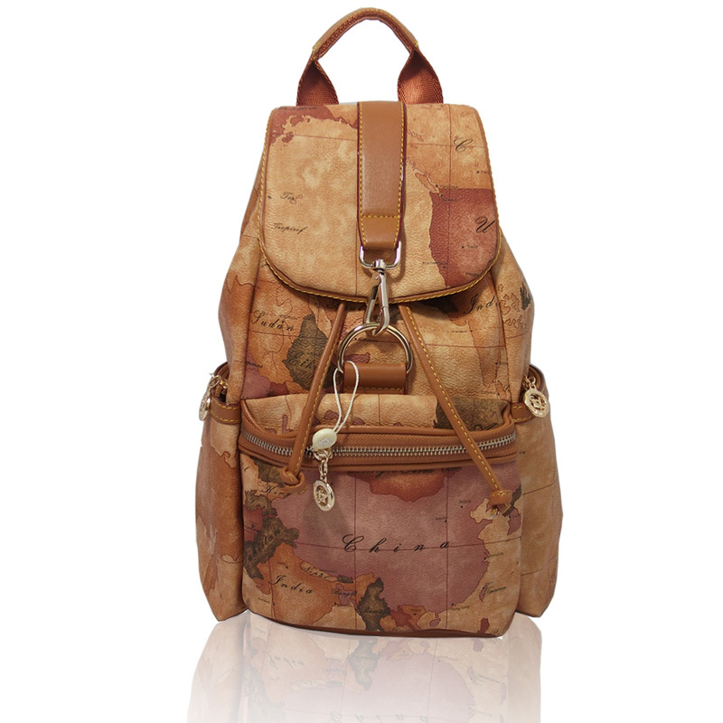 Promotion 2015 high quality Fashion vintage world map bags girls backpack student school bag female travel bags brand bag #157