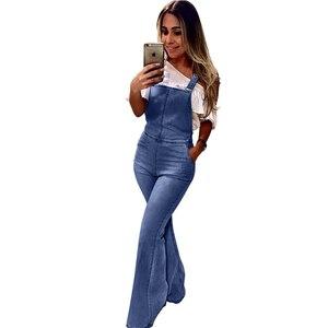 Image 2 - Bahar yaz geniş bacak Denim tulum tulum kadınlar için zarif kadın yüksek bel çan alt kot tulumlar artı boyutu