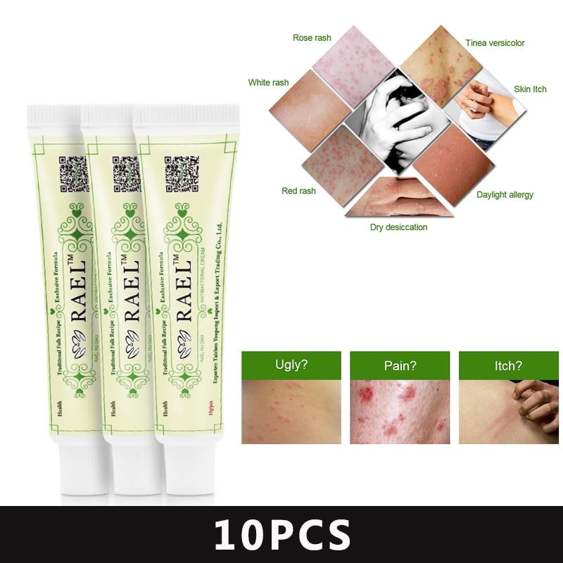 Nenhuma caixa!! 10 pçs/lote RAEL Pele Psoríase Creme Eczematoid Dermatite Eczema Tratamento Pomada Psoríase Creme Cuidados Com A Pele