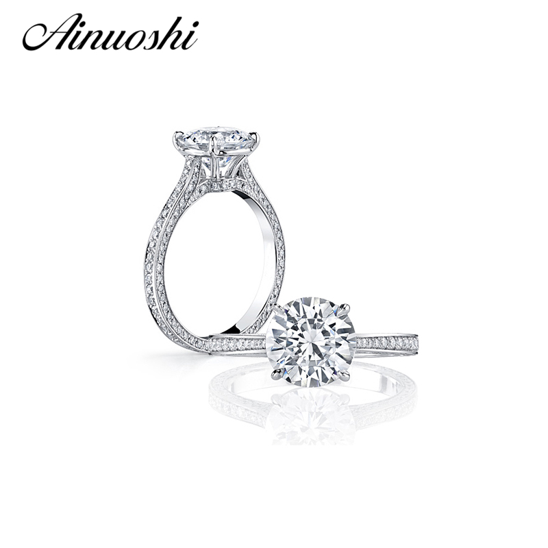 Round Cut SONA Diamond Engagement Rings Prongs Solid Sterling Silver Fashion Wedding