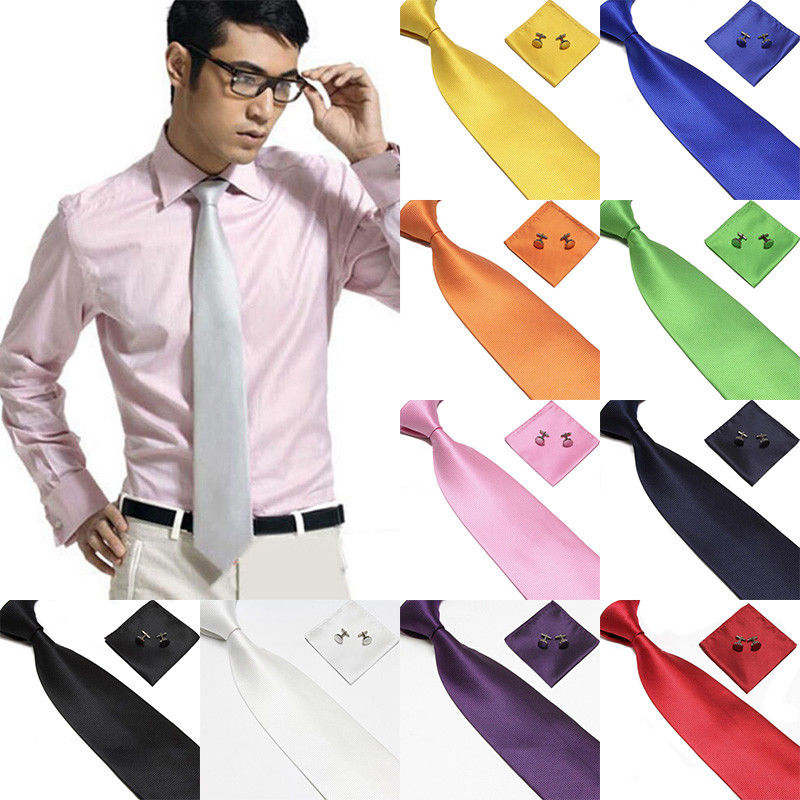 New Mens Knit Neck Fashion Ties Business Wedding Party Solid Silk Ties