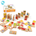 Brinquedos do bebê Animais Criança Dominó 28 Pcs Blocos de Construção de Brinquedos De Madeira de Faia de Madeira Dominó Infantil Brinquedos Educativos Presente de Aniversário Infantil