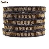cool dark grey seed beads leather wrap bracelet