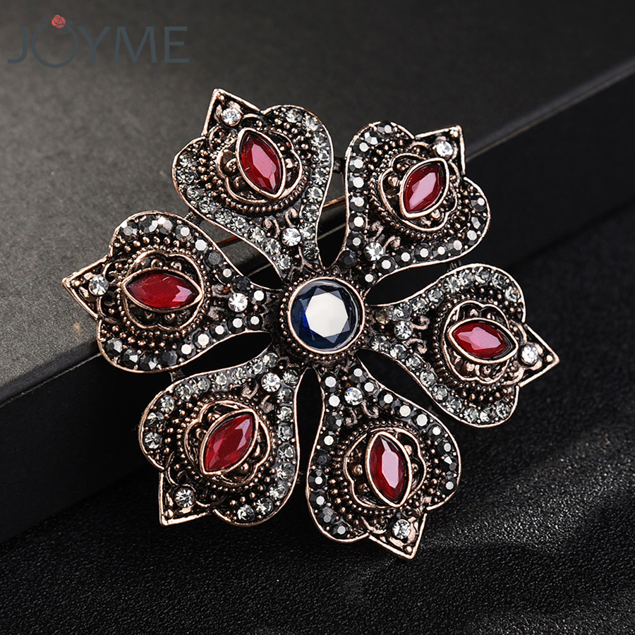 AUDIDI Brooches Pins, Enamel Flower Brooch Pins Rhinestone Brooch Crystal Scarf Zircon Plant Brooches for Women Vintage Beautiful Brooches Jewelry,2