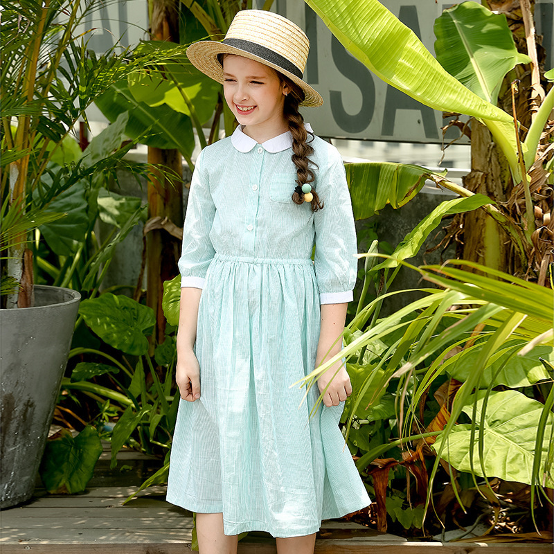 цены Cotton School Big Girl Dress 2018 Spring Summer Pockets Long Dresses Kids Princess Dress Children Dress Teenage Girls Clothing