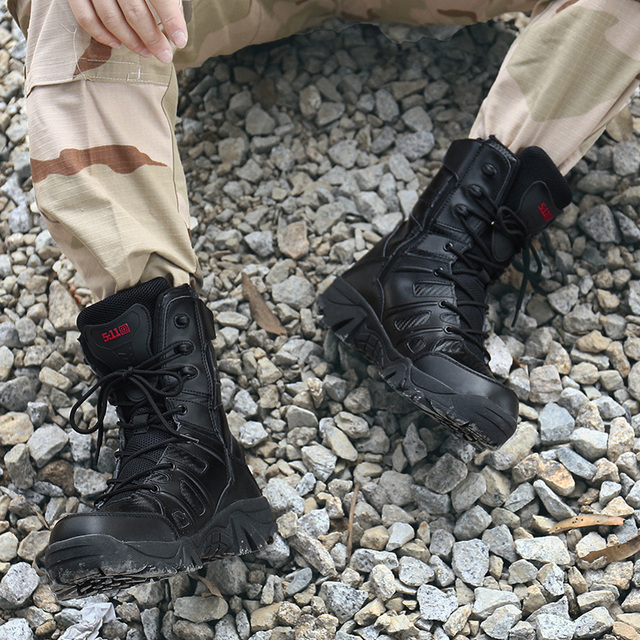 Man Hiking Shoes Large Size 41-46 Male Shoes Adult High Top Tactical Boots Black Lace Up Climbing Boots for Men Army Shoes