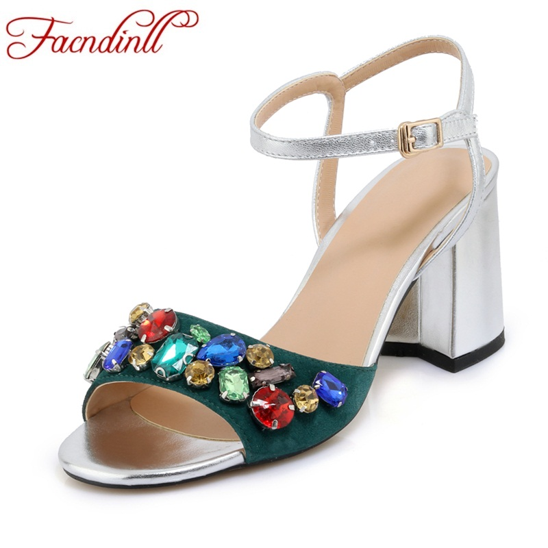 FACNDINLL 2018 fashion genuine leather women sandals sexy high heels peep toe crystal gladiator woman dress party summer shoes facndinll genuine leather sandals for