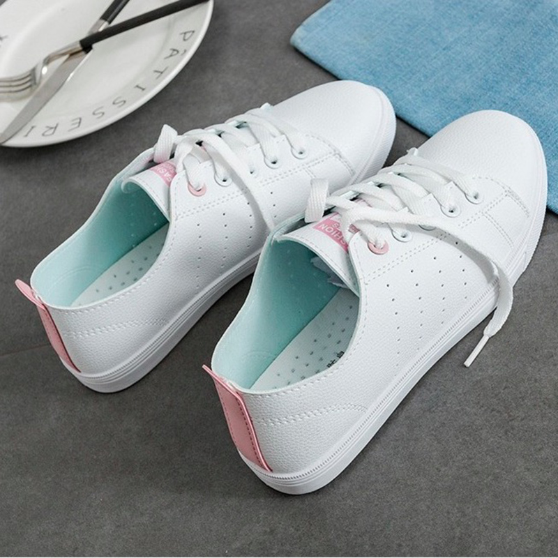 WAWFROK Women Casual Shoes Summer 2018 Spring Women Flats Shoes Fashion Breathable Vulcanization Lace-Up Women Sneakers