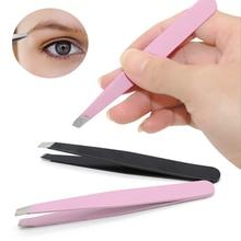 LNRRABC ขายสะดวกที่มีประสิทธิภาพ Eyebrow Tweezer Eyelash EXTENSION แหนบกำจัดขนคิ้วสีชมพูและสีดำขัด