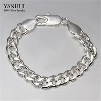 YANHUI Brand Fine Jewelry 100 925 Sterling Silver Bracelet For Men Classic Charm Bracelet S925 Stamped