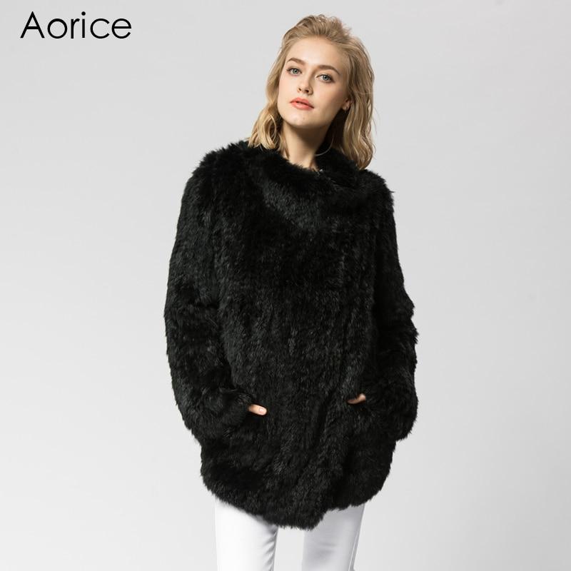 Épais Tricoté Chaud Fourrure 3 Russe Femmes Pardessus Lapin Noir Réel Tricot Veste Manteau D'hiver Couleur Cr021 Véritable De AOxwUqn66