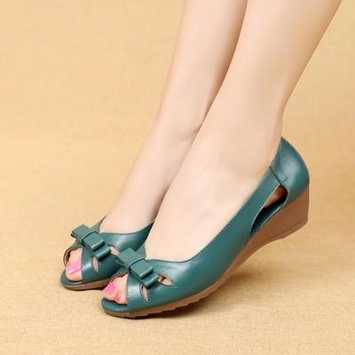 Image 5 - GKTINOO 2020 Summer Women Shoes Woman Genuine Leather Platform Sandals Open Toe Mother Wedges Casual Sandals Women SandalsLow Heels   -