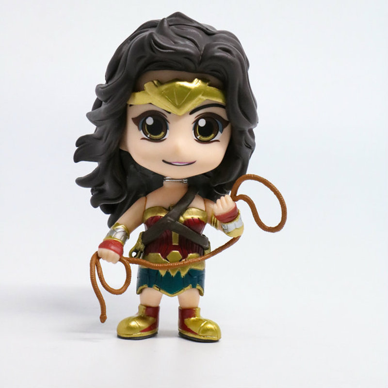 QICSYXJ Birthday Gift Supply Superhero Action Figure Collection 10cm Cute Wonder Woman Model Toy Figure AUTO Bobble Head Doll 8 20cm dc wonder woman headknocker wacky wobbler bobble head pvc figure toy doll wf016