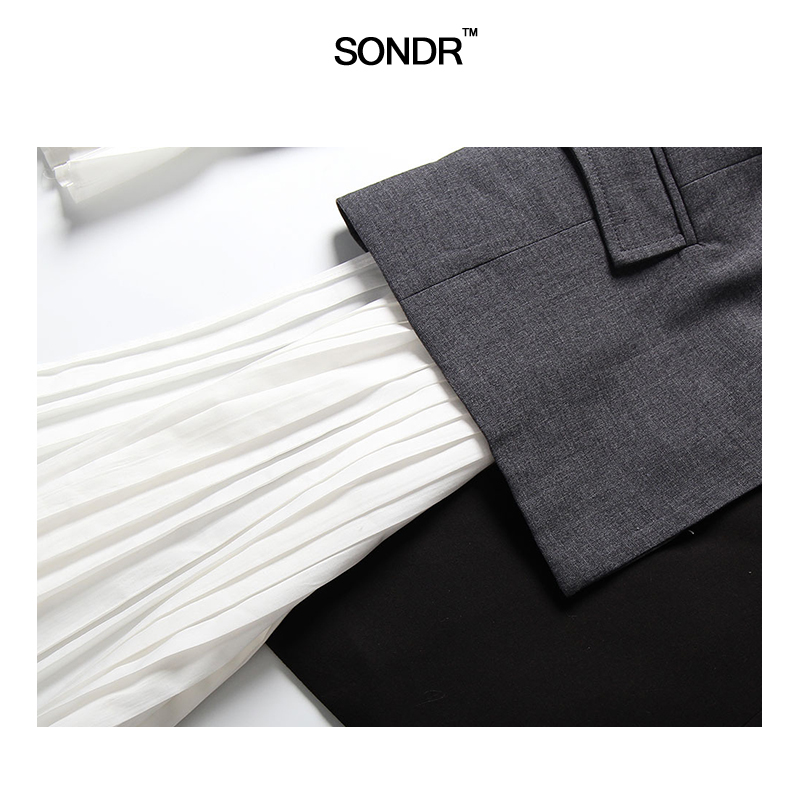 SONDR 2019 New Summer Lapel Long Sleeve Gray Hit Color Pleated Irregular Split Joint Jacket Women Coat Fashion Tide New