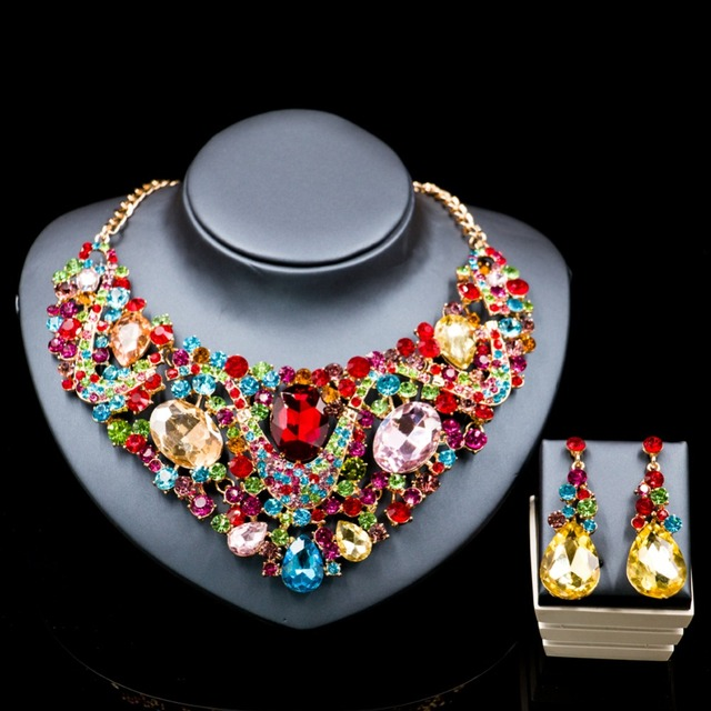 Lan palace austrian crystal jewelry set gold color dubai Rhinestone necklace and earrings for wedding six colors  free shipping
