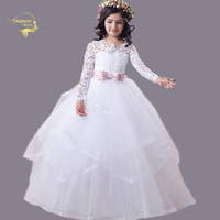 robe demoiselle d'honneur fille First Communion Gift Glitz Pageant Dresses Long Sleeves With Bow and Buttons Girls Formal Dress