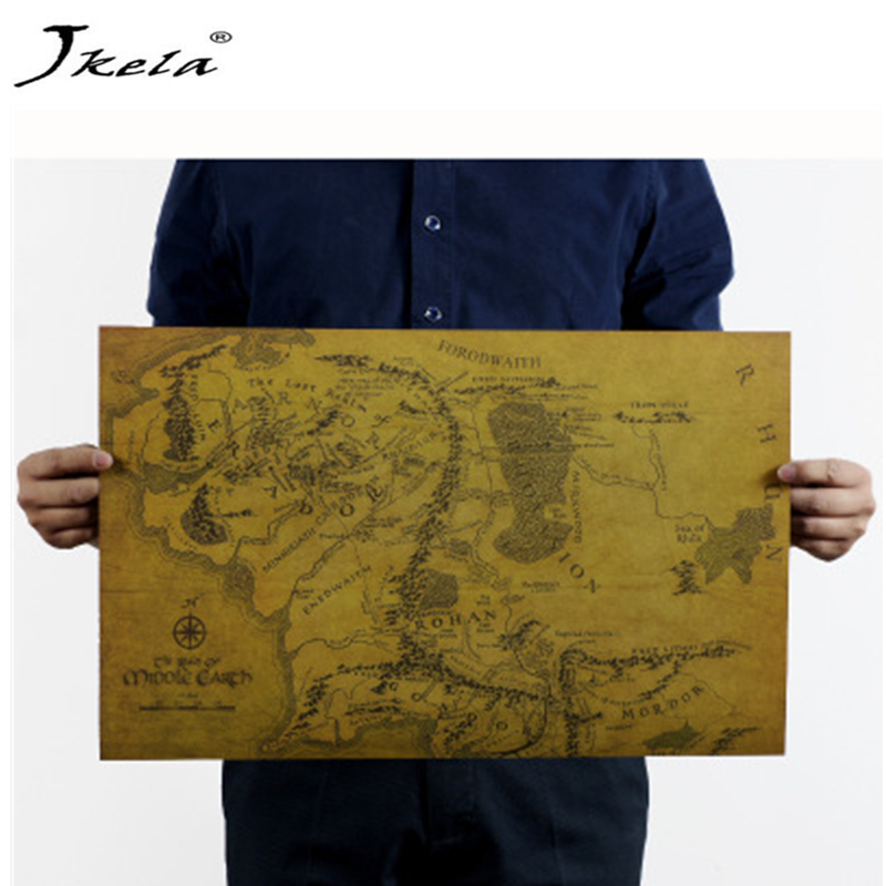 [Jkela] The Lord of the Rings MIDDLE EARTH MAP Vintage Kraft Paper Home Decoration cosplay Art Removable action figure map jonsbo lord of the rings mod screw set red