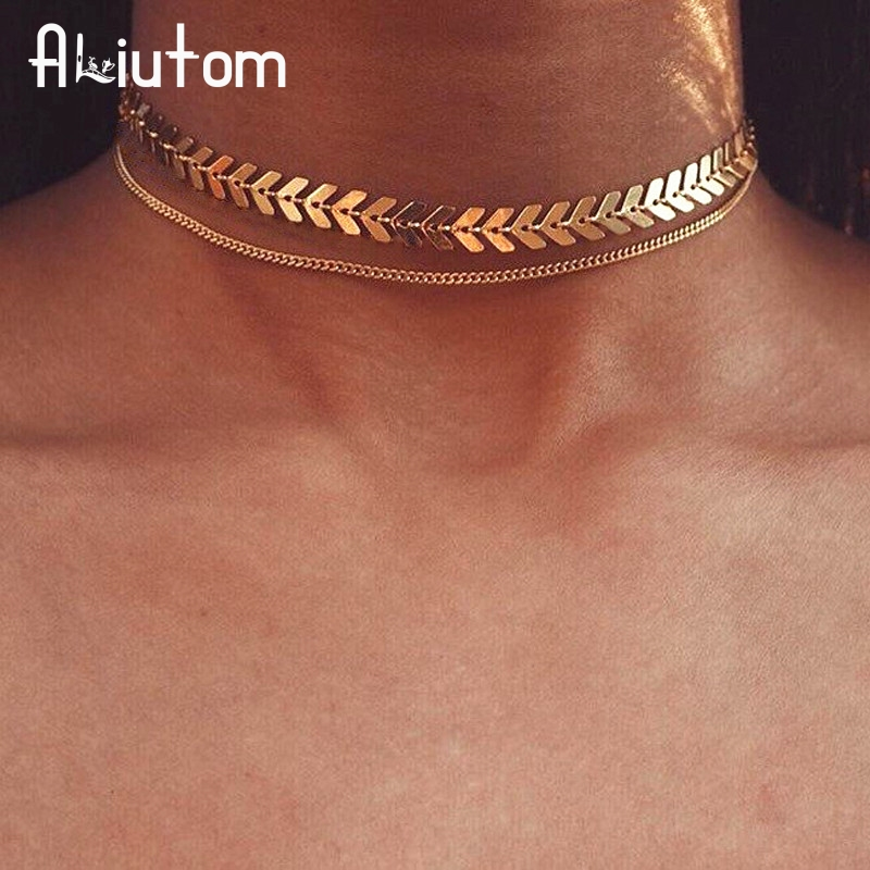 ALIUTOM Hot Products Chevron Chain Choker Two Layers Necklaces Fishbone Airplane Shape Gold Color Necklace Flat Chain