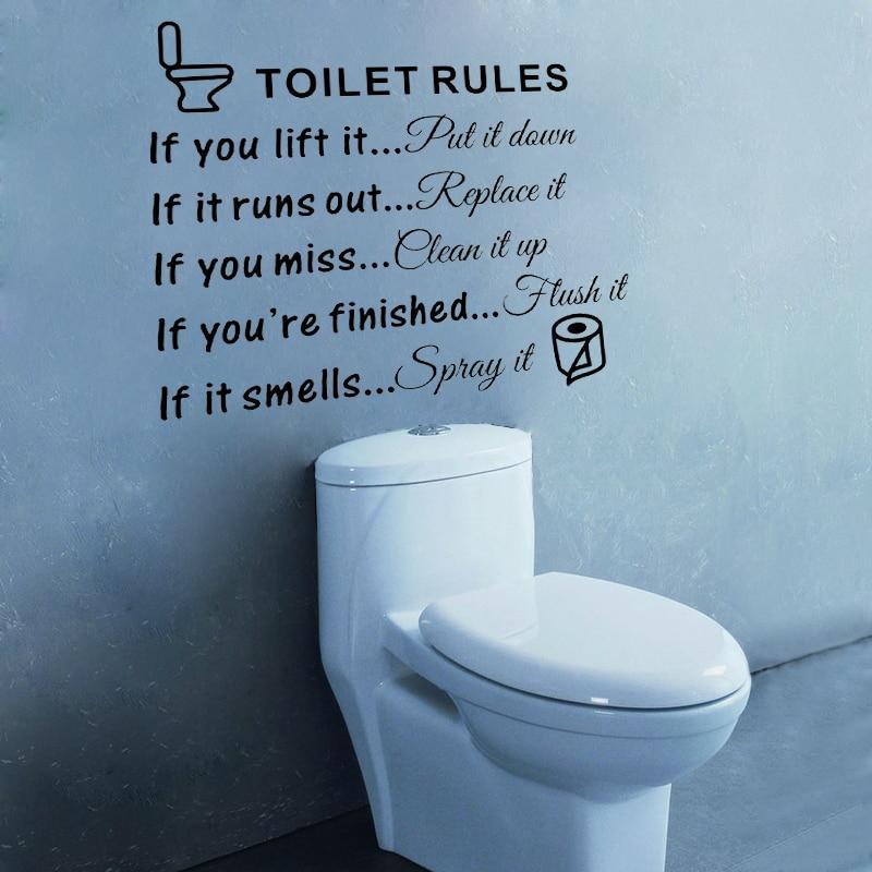 D491 Wc Regeln Zitate Vinyl Wandtattoo Für Wohnkultur Badezimmer Loo  Toilette Dekoration In D491 Wc Regeln