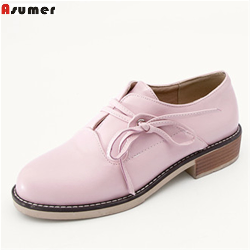 ASUMER pink gray beige black fashion spring autumn ladies shoes round toe cross  tied square heel women med heels shoes new spring autumn women shoes pointed toe high quality brand fashion ol dress womens flats ladies shoes black blue pink gray