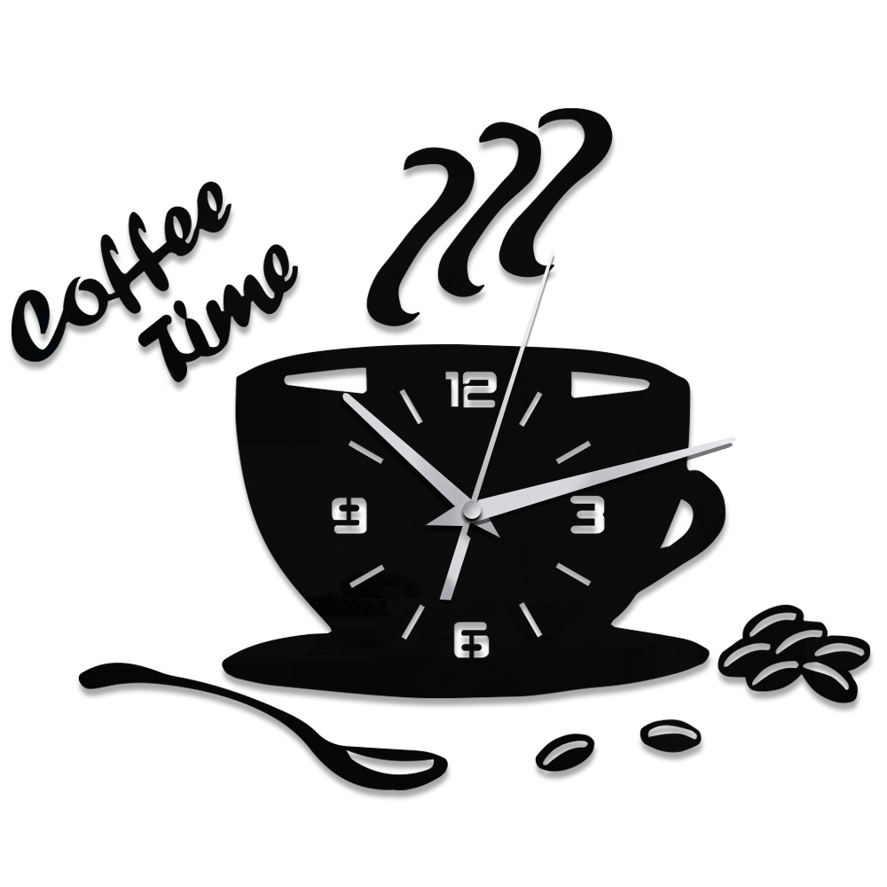 3d Diy Acrylic Wall Clock Modern Home Office Decor Coffee