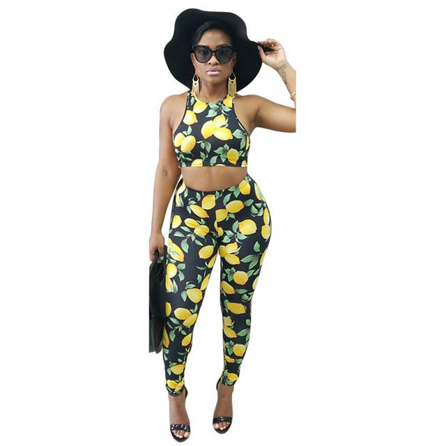 Venta caliente Del Verano Del Estilo de Limón Impreso de la Mujer Set Sexy Short Tank Tops y Pantalones Largos Ocasionales de La Cintura Elástico Apretado conjuntos