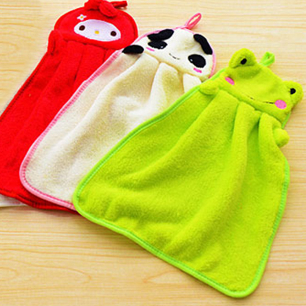 Baby Hand Towel Soft Children's Cartoon Hanging Wipe Bath Face Towel Kids Kitchen Bathroom Kid Soft Plush Fabric Hang Towels