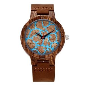 Image 3 - פרימיום פקק עץ השיש עיצוב שעוני יד Mens נשים יד קוורץ שעון גברים גבירותיי רך חומר עור רצועת לקשט שעונים