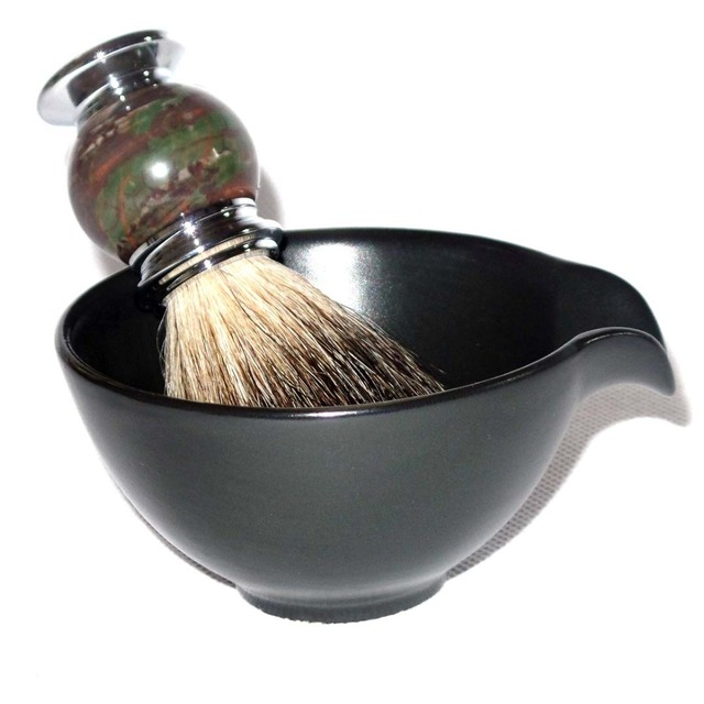 2pc/set  Badger Shaving Brush with Ceramic Beard Soap Foam Bowl Mug for Men's Daily Shaving