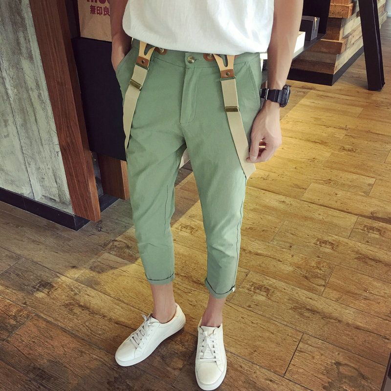 Mens Hip Hop Fashion Army Green Bib Overalls Cool Cotton Cargo Pants Designer Jumpsuit For Men Suspender Trousers 032803 Good For Antipyretic And Throat Soother Pants