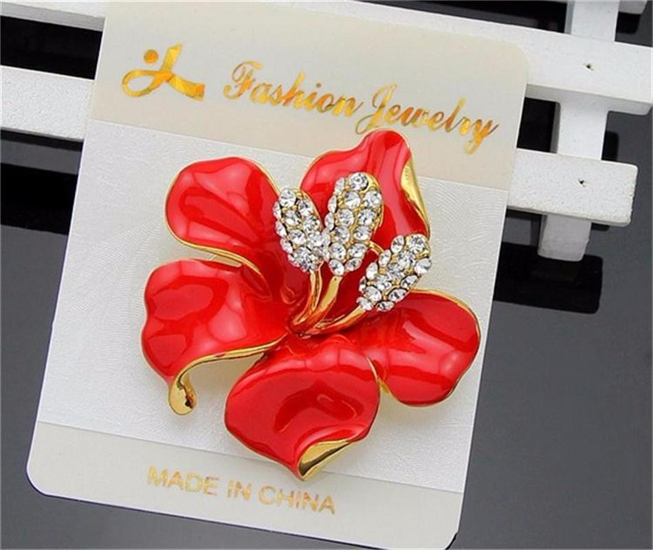 Meajoe Trendy Rhinestone Crystal Lily Flower Broches Rose Red Five - Bisutería - foto 4