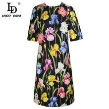 LD LINDA DELLA Novo 2018 Desfile de Moda Verão das Mulheres Vestido de Manga Curta Preta Do Vintage Floral Impressão Elegante Vestido Fino vestidos