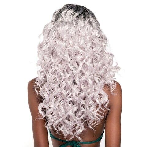 Ombre Color Lace Part Loose Wave Synthetic Hair Wigs Side Part X-TRESS Medium Length Heat Resistant Fiber Hair Wig For Women Karachi