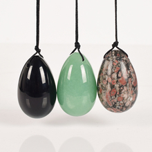 3 pcs 40*25mm Drilled mix jade Egg natural stone obsidian crystal ball Pelvic Kegel Exercise Tightening Vaginal Muscle yoni Egg