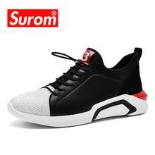 SUROM Pria Designer Sneakers Untuk Pria Kulit Buatan Shell-toe Warna Hitam Putih Super Ringan Sepatu Kasual Untuk Laki-laki Krasovki