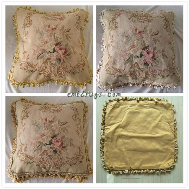 Needlepoint Upholstery Cushion Seat Wool Woolen Needlepoint Handmade Pillows-rose And Bud Aubussion Square Cushion Cover