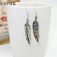 CANNER 925 Sterling Silver Bohemia Feather Earrings for Women Angel Wings Alloy Stud Black Fashion Jewelry R4