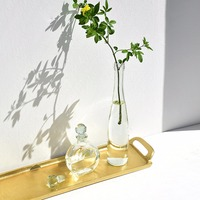 European Style Fashion Gold Tray Aluminum Long Decorative Tray 20.9
