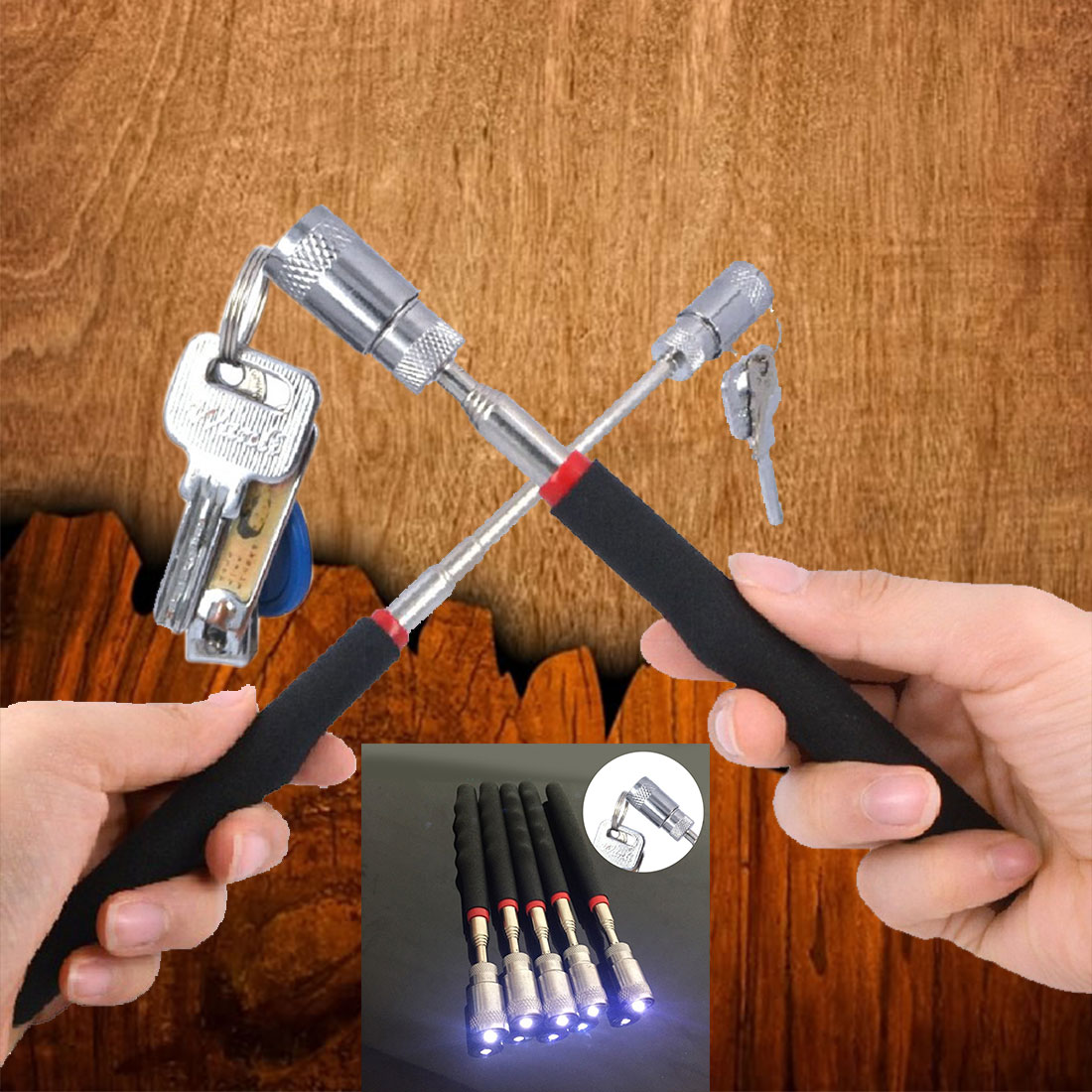 MIni Stainless Steel LED Pick Up Tool Telescopic Magnetic Magnet Tool For Picking Up Nuts And Bolts