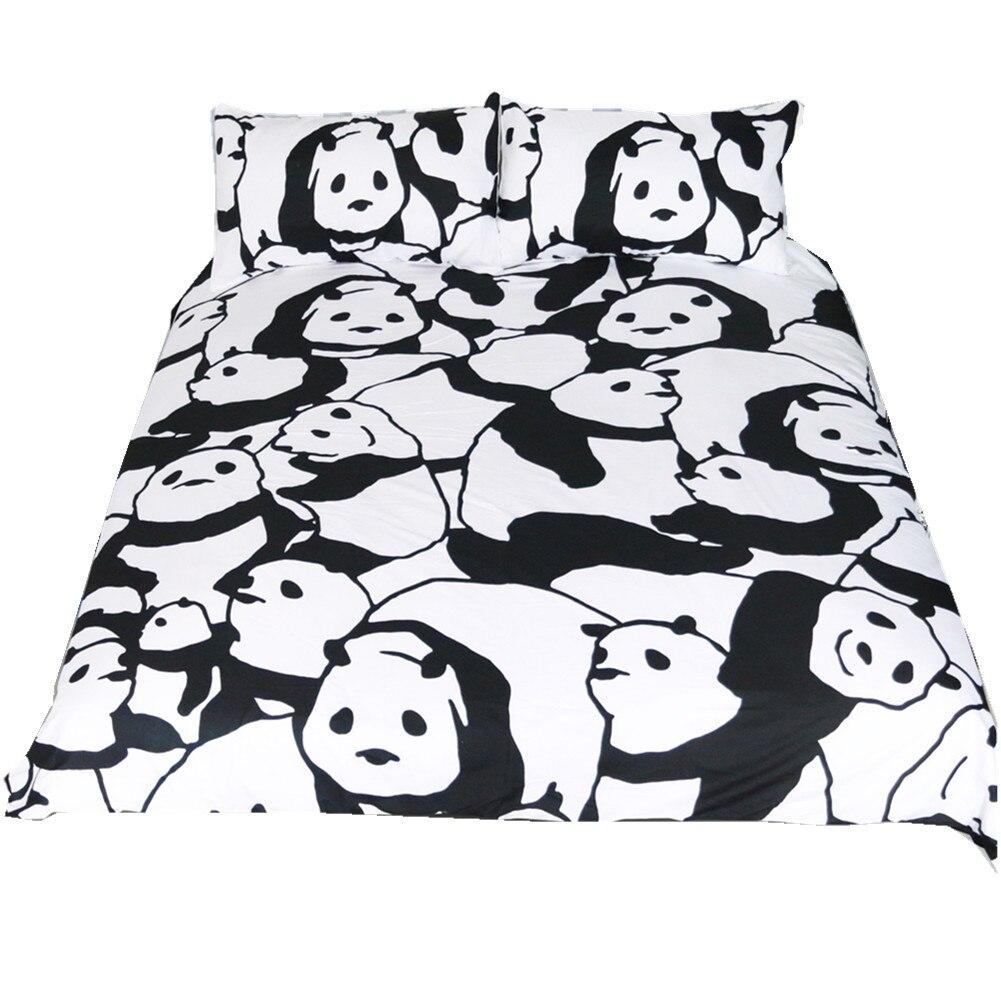 5178 Belle Panda Ensemble De Literie Noir Et Blanc Housse De Couette Dessin Animé Pour 3 Pièces Literie Linge De Lit Drap De Lit In Ensembles De