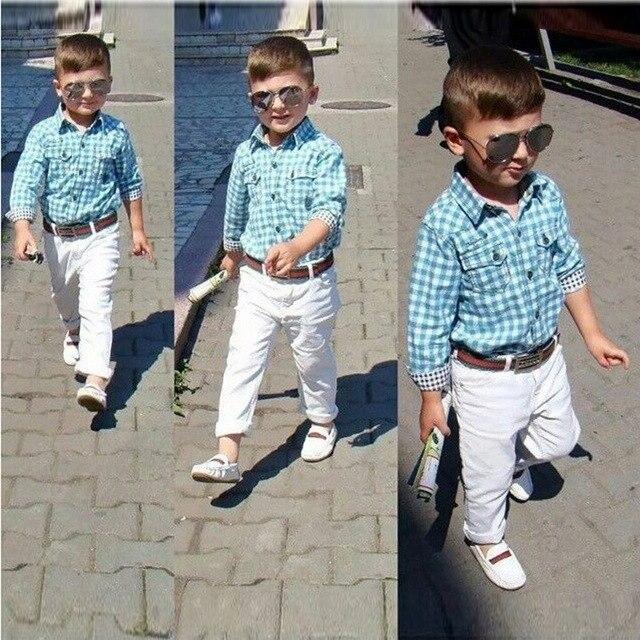 Мальчики Дети хлопка С Длинными рукавами клетчатой рубашке белые брюки 3 Шт. 2-7 T Детская Футболка С Длинным Рукавом + брюки + Ремень Набор Повседневная Одежда