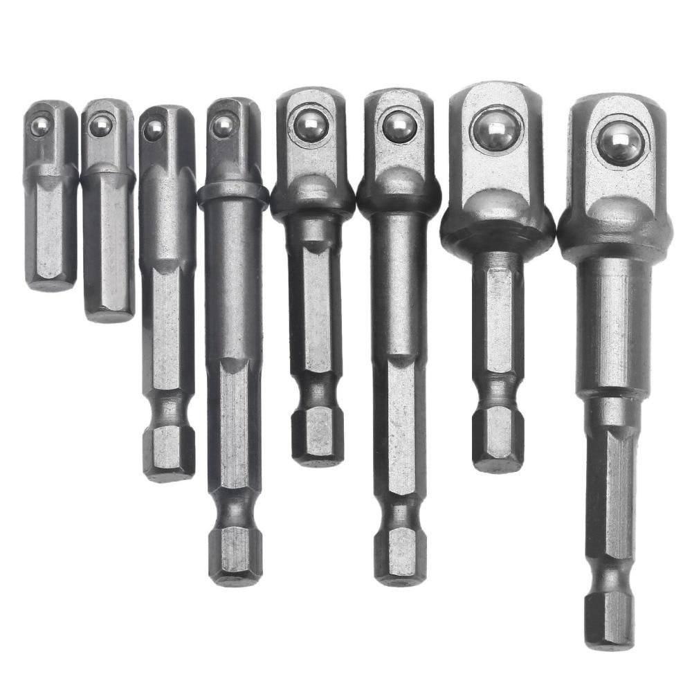 """8PCS-pistikupesade adapterikomplekt kuuskantpuurimutri draivervõlli 1/4 """"3/8"""" 1/2 """"ühendusvarda pea pikenduspuurvardade mutrivõti"""