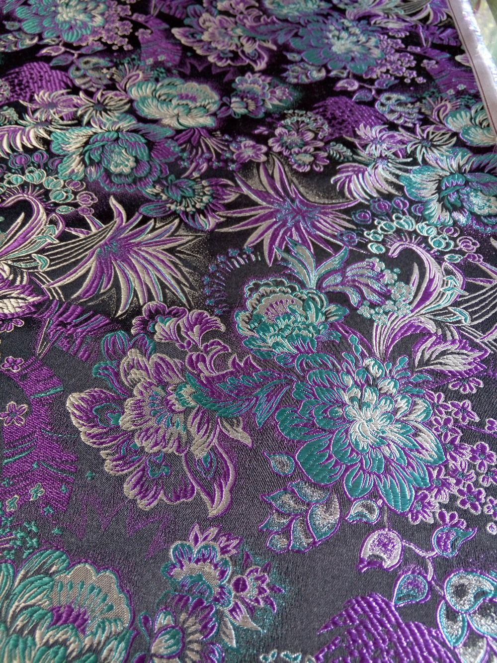 Silk brocade fabric chinese traditional woven black back with lake silk brocade fabric chinese traditional woven black back with lake blue and purple peony flowers pattern new color match in fabric from home garden on izmirmasajfo