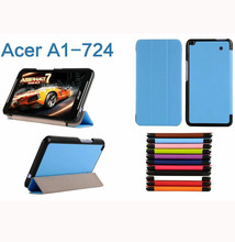 ocube Ultra Slim Folio Stand Tri-fold Custer PU Flip Leather Case Cover For Acer Iconia Talk S A1-724 A1 724 7″ 7 inch Tablet