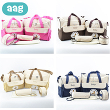 AAG 5pcs Baby Diaper Bag Suits For Mom Fashion Handbag Mother Stroller Maternity Bag Mummy Nappy Bags Multifunction Tote Bag 40