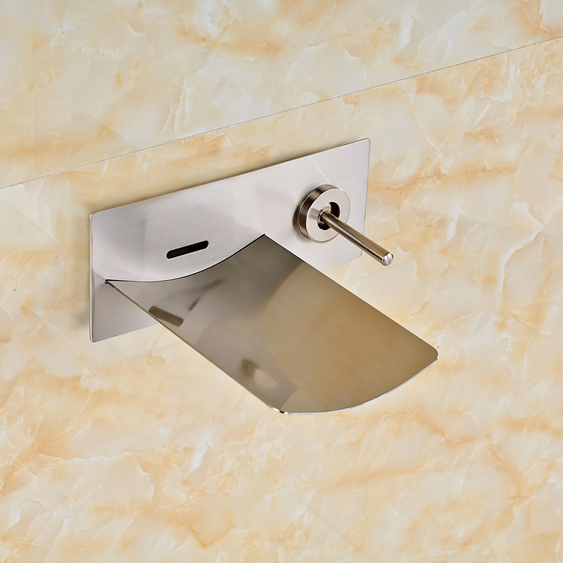 ФОТО Bathroom Faucet Wall Mounted Brushed Nickel Single Handle Waterfall Spout for Bathtub