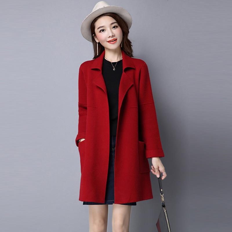 tao Tricoté Noir Automne Re0242 Cardigans Femmes Plus Hiver Hong Red gris Chandail Outwear Dames Tricot ju Manteau kaki Lâche rouge La Taille Nouvelles Laine Se Se wine 4r74a