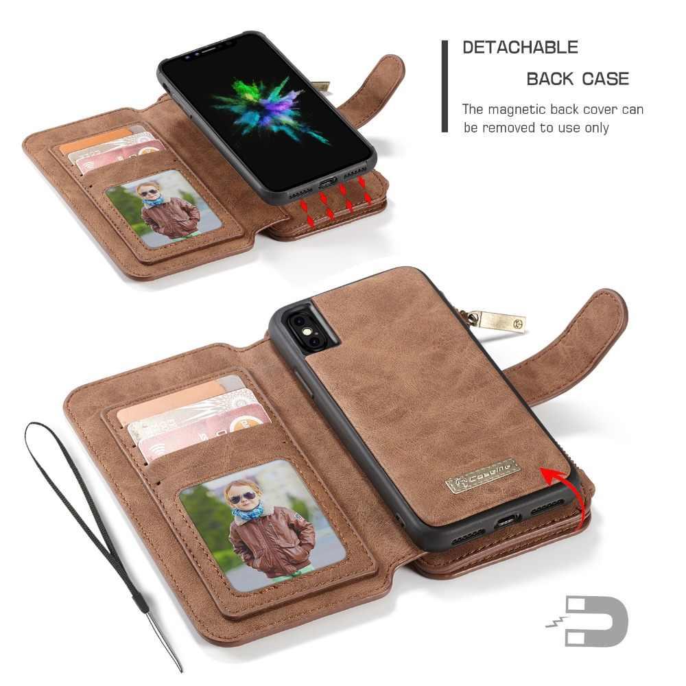 OCUBE телефон чехлы для iphone 7 8 X Ретро кожа молния многофункциональный 2 в 1 карты Бумажник задняя крышка CaseFor iphone XS XR Xs Max