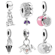 Couqcy New Original Sliver Bead Rabbit Umbrella Mom Love Star Charm Fit Pandora Bracelet Necklace DIY Women Jewelry